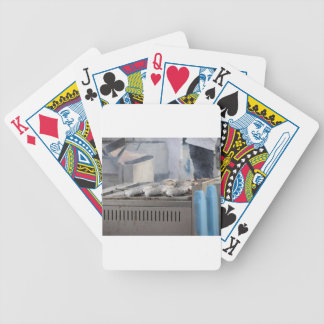 Grilling fish outdoors with smoke emerging bicycle playing cards