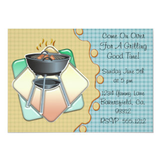 """Grilling Good Time 5"""" X 7"""" Invitation Card"""
