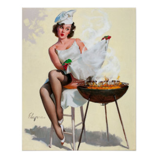 Grilling Pin Up Poster