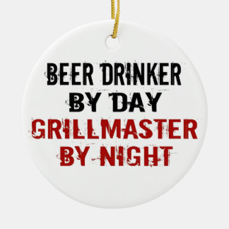 Grillmaster Beer Drinker Ceramic Ornament