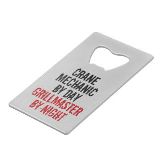 Grillmaster Crane Mechanic Credit Card Bottle Opener