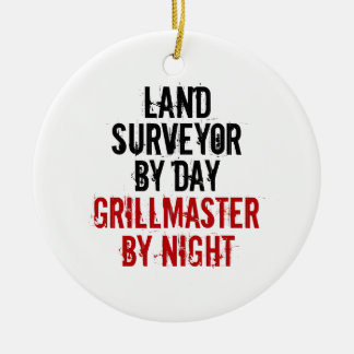 Grillmaster Land Surveyor Round Ceramic Ornament