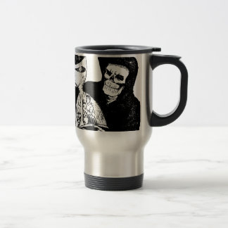 Grim Reaper and Man Travel Mug