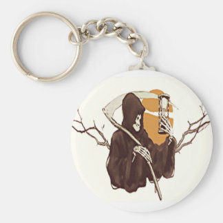 Grim Reaper and The Sands Of Time Basic Round Button Keychain