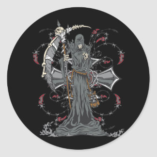 Grim Reaper Awaits Classic Round Sticker