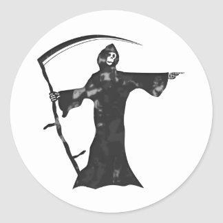 Grim reaper classic round sticker