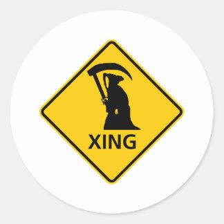Grim Reaper / Death Crossing Highway Sig Classic Round Sticker