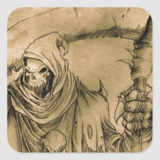 Grim Reaper Death Square Sticker