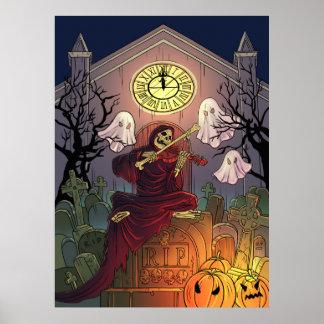 Grim Reaper & Ghosts Haunt Graveyard on Halloween Poster