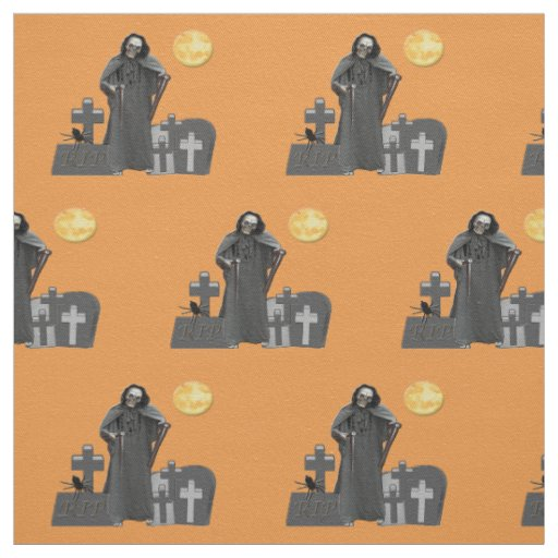 Grim Reaper Graveyard Fabric