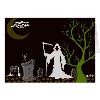 Grim Reaper Graveyard Halloween Card