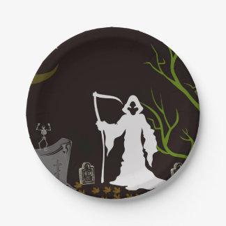 Grim Reaper Graveyard Paper Plates 7 Inch Paper Plate