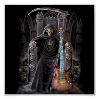 Grim Reaper Guitar in Hell Poster