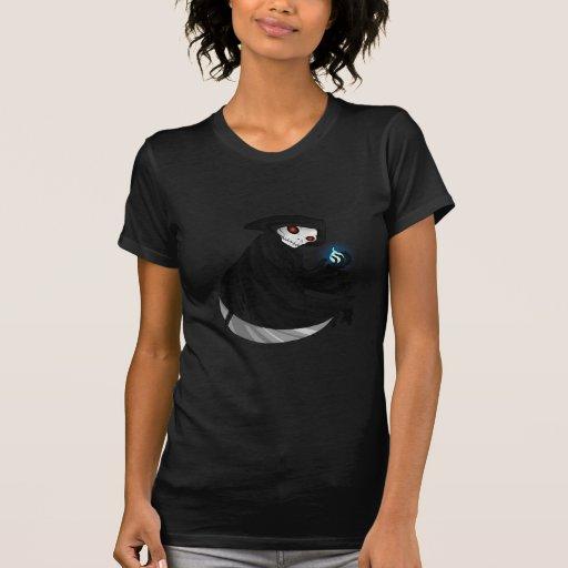 Grim Reaper Holding Scythe and Blue Fireball T-shirt