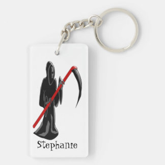 Grim Reaper Just Add Name Double-Sided Rectangular Acrylic Keychain