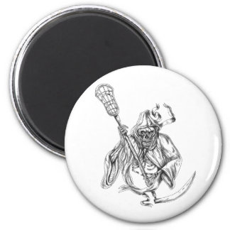 Grim Reaper Lacrosse Defense Pole Tattoo 2 Inch Round Magnet