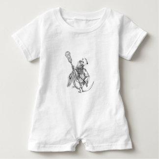 Grim Reaper Lacrosse Defense Pole Tattoo Baby Romper