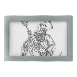 Grim Reaper Lacrosse Defense Pole Tattoo Belt Buckle