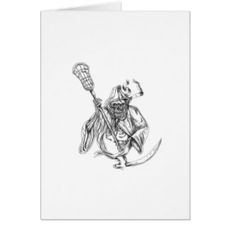 Grim Reaper Lacrosse Defense Pole Tattoo Card