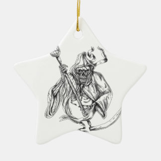 Grim Reaper Lacrosse Defense Pole Tattoo Ceramic Ornament