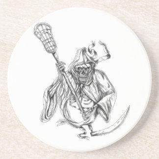 Grim Reaper Lacrosse Defense Pole Tattoo Coaster