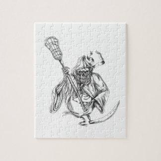 Grim Reaper Lacrosse Defense Pole Tattoo Jigsaw Puzzle