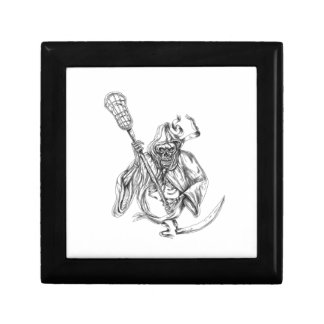 Grim Reaper Lacrosse Defense Pole Tattoo Keepsake Box