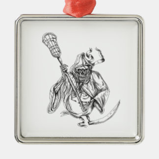 Grim Reaper Lacrosse Defense Pole Tattoo Metal Ornament