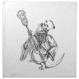 Grim Reaper Lacrosse Defense Pole Tattoo Napkin