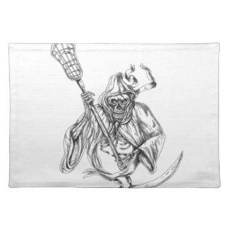 Grim Reaper Lacrosse Defense Pole Tattoo Placemat