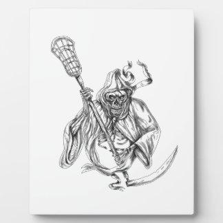 Grim Reaper Lacrosse Defense Pole Tattoo Plaque