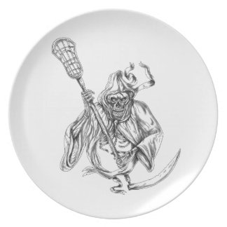 Grim Reaper Lacrosse Defense Pole Tattoo Plate