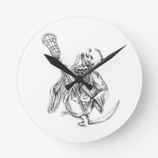 Grim Reaper Lacrosse Defense Pole Tattoo Round Clock