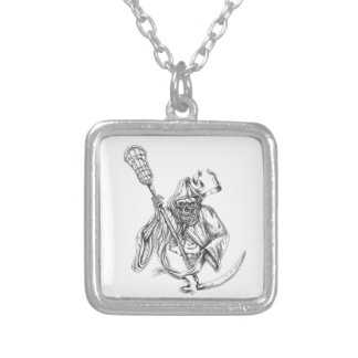 Grim Reaper Lacrosse Defense Pole Tattoo Silver Plated Necklace
