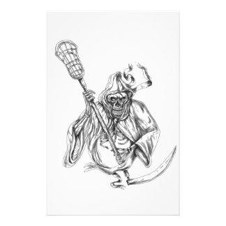 Grim Reaper Lacrosse Defense Pole Tattoo Stationery