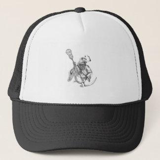 Grim Reaper Lacrosse Defense Pole Tattoo Trucker Hat