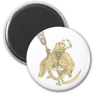 Grim Reaper Lacrosse Stick Drawing 2 Inch Round Magnet