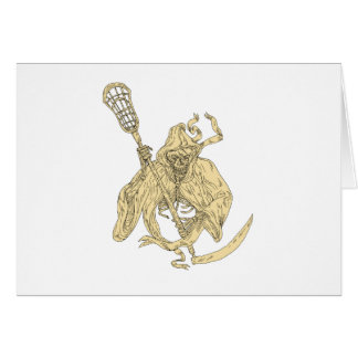 Grim Reaper Lacrosse Stick Drawing Card