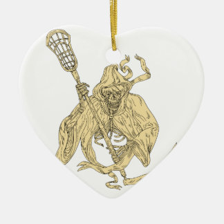 Grim Reaper Lacrosse Stick Drawing Ceramic Ornament