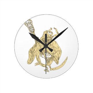 Grim Reaper Lacrosse Stick Drawing Clocks