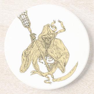Grim Reaper Lacrosse Stick Drawing Coaster