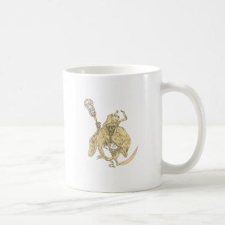 Grim Reaper Lacrosse Stick Drawing Coffee Mug
