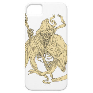 Grim Reaper Lacrosse Stick Drawing iPhone 5 Case