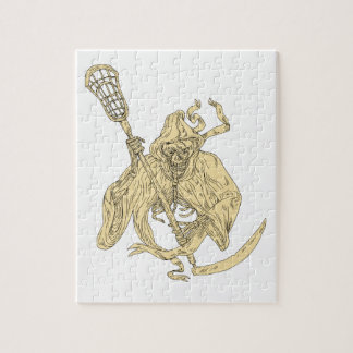 Grim Reaper Lacrosse Stick Drawing Jigsaw Puzzle