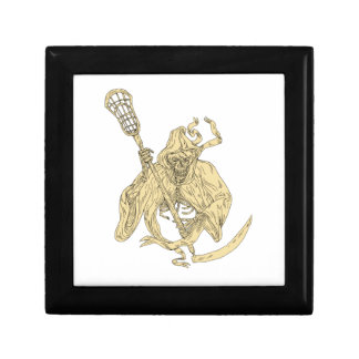 Grim Reaper Lacrosse Stick Drawing Keepsake Box