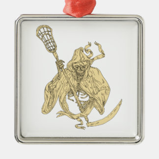 Grim Reaper Lacrosse Stick Drawing Metal Ornament