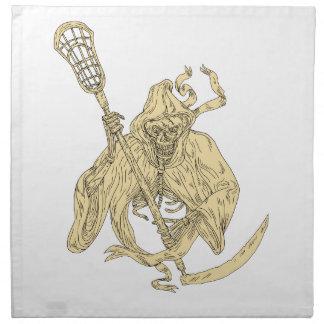 Grim Reaper Lacrosse Stick Drawing Napkin