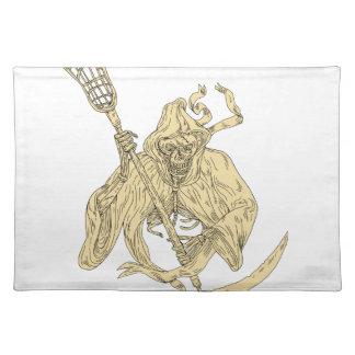 Grim Reaper Lacrosse Stick Drawing Placemat