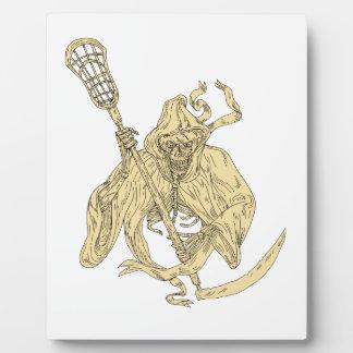 Grim Reaper Lacrosse Stick Drawing Plaque