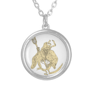 Grim Reaper Lacrosse Stick Drawing Silver Plated Necklace